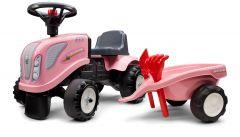 Rosa New-Holland Juguete de Montar Tractor para Niños Aprendiendo a Caminar con remolque y herramientas