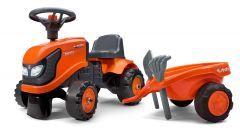 Kubota M4072 Juguete de Montar Tractor para Niños Aprendiendo a Caminar con remolque y herramientas
